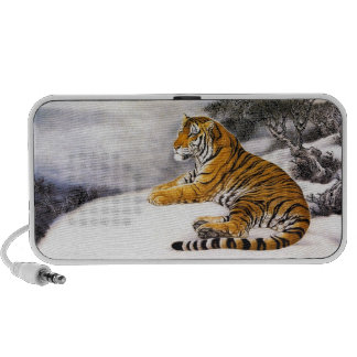 Cool chinese fluffy tiger rest snow cliff winter iPod speaker