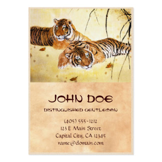 Cool chinese fluffy tiger rest sunset art business card templates