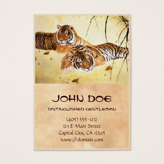 Cool chinese fluffy tiger rest sunset art business card