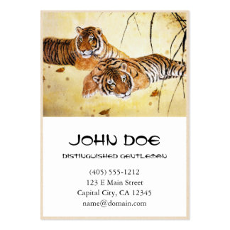 Cool chinese fluffy tiger rest sunset art business card template