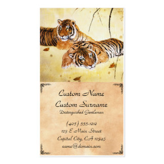 Cool chinese fluffy tiger rest sunset art business business cards