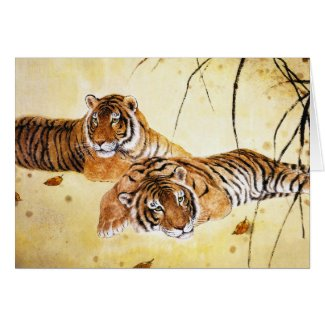 Cool chinese fluffy tiger rest sunset art greeting card