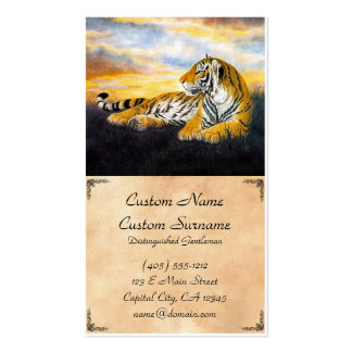 Cool chinese fluffy tiger rest sunset meadow art business cards