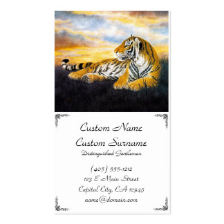 Cool chinese fluffy tiger rest sunset meadow art business card template