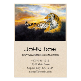 Cool chinese fluffy tiger rest sunset meadow art business card