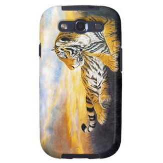Cool chinese fluffy tiger rest sunset meadow art samsung galaxy SIII case