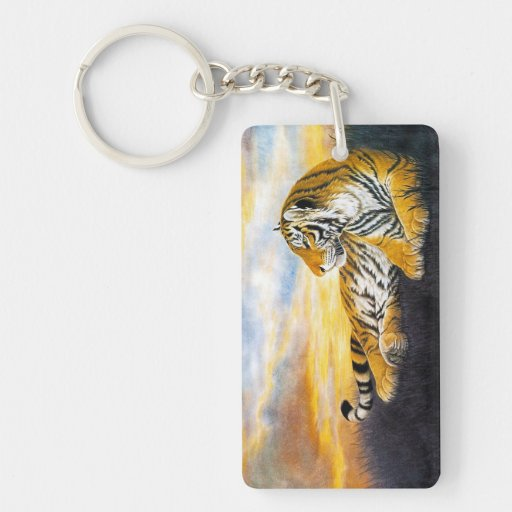 Cool chinese fluffy tiger rest sunset meadow art keychain