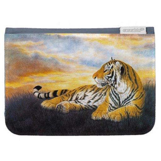 Cool chinese fluffy tiger rest sunset meadow art kindle keyboard case