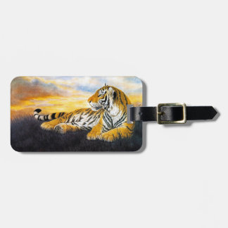 Cool chinese fluffy tiger rest sunset meadow art luggage tags