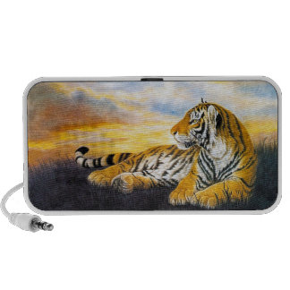Cool chinese fluffy tiger rest sunset meadow art iPhone speakers