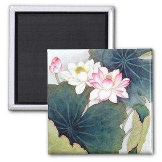 cool chinese lotus leaf pink flower butterfly art 2 inch square magnet