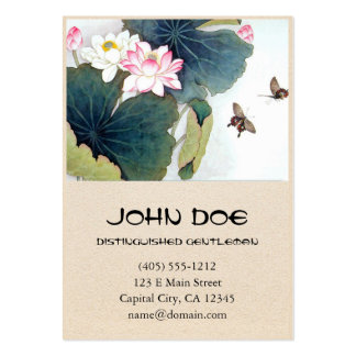 cool chinese lotus leaf pink flower butterfly art business card template