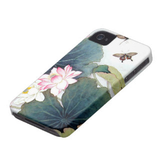 cool chinese lotus leaf pink flower butterfly art Case-Mate iPhone 4 cases