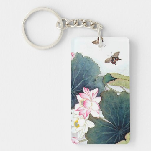 cool chinese lotus leaf pink flower butterfly art Double-Sided rectangular acrylic keychain