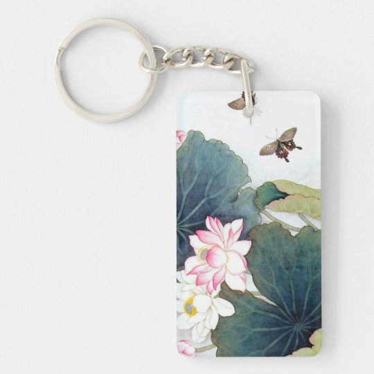 cool chinese lotus leaf pink flower butterfly art keychain