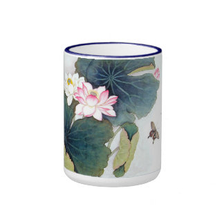 cool chinese lotus leaf pink flower butterfly art ringer mug