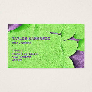 Cool Chipped Paint Peeling Cracked Green Purple Business Card