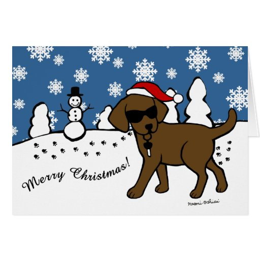 Cool Chocolate Labrador Cartoon Christmas Card