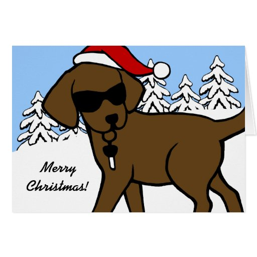 Cool Chocolate Labrador Cartoon Christmas Cards