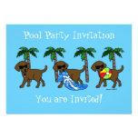 Cool Chocolate Labradors Pool Party Invitation