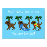 Cool Chocolate Labradors Pool Party Invitation