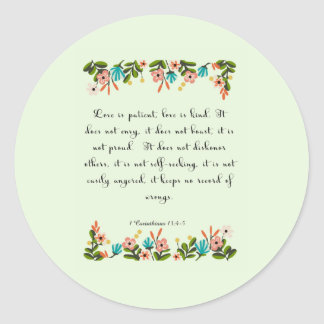 Cool Christian Art - 1 Corinthians 13:4-5 Classic Round Sticker