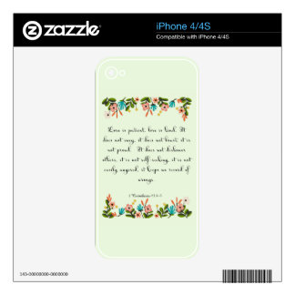 Cool Christian Art - 1 Corinthians 13:4-5 Decal For The iPhone 4S