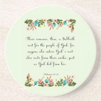Cool Christian Art - Hebrews 4: 9-10 Drink Coaster