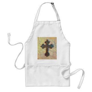 Cool Christian Cross Circle Mosaic Pattern Adult Apron