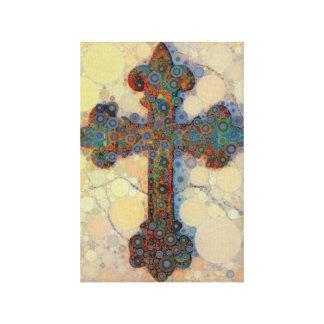 Cool Christian Cross Circle Mosaic Pattern Canvas Print