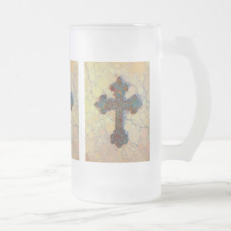 Cool Christian Cross Circle Mosaic Pattern Frosted Glass Beer Mug