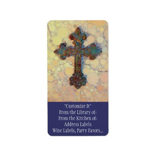 Cool Christian Cross Circle Mosaic Pattern Personalized Address Label