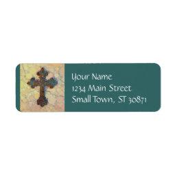 Cool Christian Cross Circle Mosaic Pattern Label