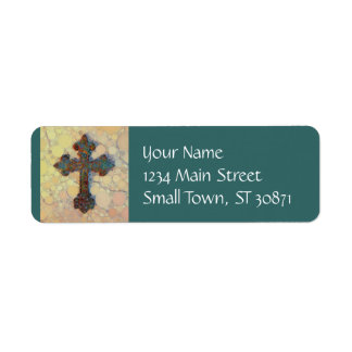 Cool Christian Cross Circle Mosaic Pattern Label