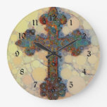 Cool Christian Cross Circle Mosaic Pattern Large Clock at Zazzle