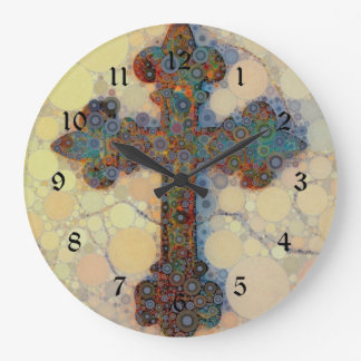 Cool Christian Cross Circle Mosaic Pattern Large Clock