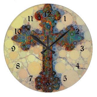 Cool Christian Cross Circle Mosaic Pattern Large Clock