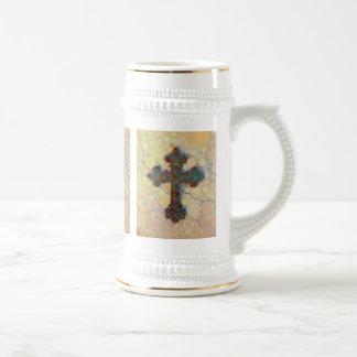 Cool Christian Cross Circle Mosaic Pattern Mugs