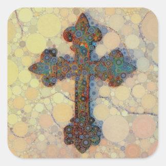 Cool Christian Cross Circle Mosaic Pattern Square Sticker