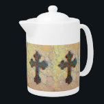 "Cool Christian Cross Circle Mosaic Pattern Teapot<br><div class=""desc"">Cool Christian Cross Circle Mosaic Pattern    &quot;cross&quot; &quot;Christian&quot; &quot;church&quot; &quot;God&quot; &quot;Jesus&quot; &quot;goth&quot; &quot;gothic&quot; &quot;crosses&quot; &quot;cool cross mosaic&quot; &quot;mosaic designs&quot; &quot;mosaic patterns&quot; &quot;concentric circles&quot;</div>"