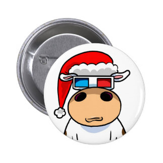 Cool Christmas Cow Pinback Button