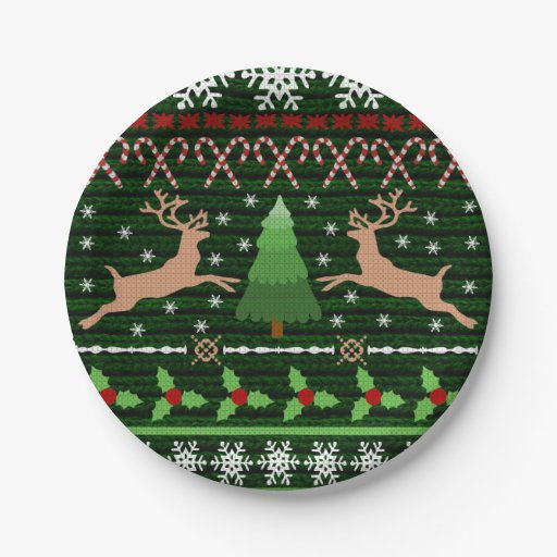 Cool Christmas Sweater Pattern Paper Plate