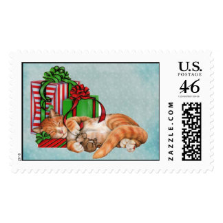 Cool Christmas with cat Postage Stamp