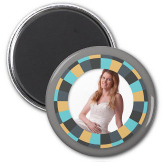 Cool Circle frame - Masculine Mustard on grey 2 Inch Round Magnet