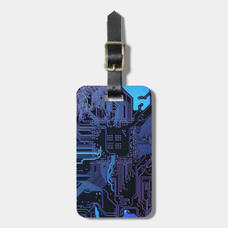 Cool Circuit Board Computer Blue Purple Bag Tag