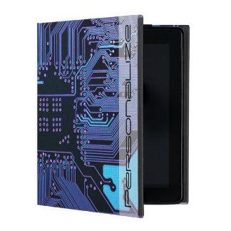 Cool Circuit Board Computer Blue Purple iPad Cover