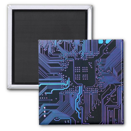 Cool Circuit Board Computer Blue Purple Magnet