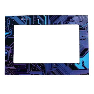 Cool Circuit Board Computer Blue Purple Magnetic Frame