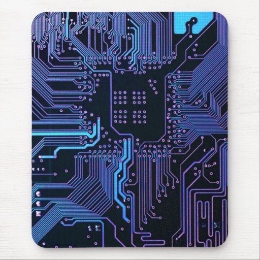 Cool Circuit Board Computer Blue Purple Mousepads