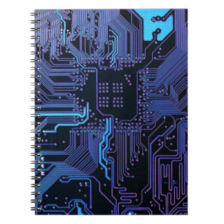Cool Circuit Board Computer Blue Purple Note Book